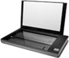 Lateral esquerda do scanner de mesa tamanho ofício aberta