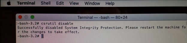 El Capitan - disable system integrity protection