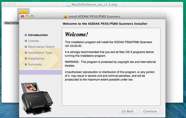 Photo scanner installer menu