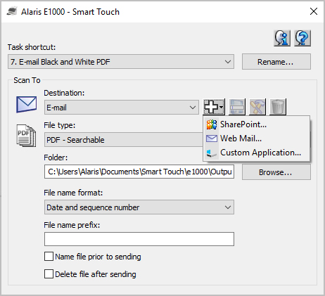 Alaris Smart Touch Menu